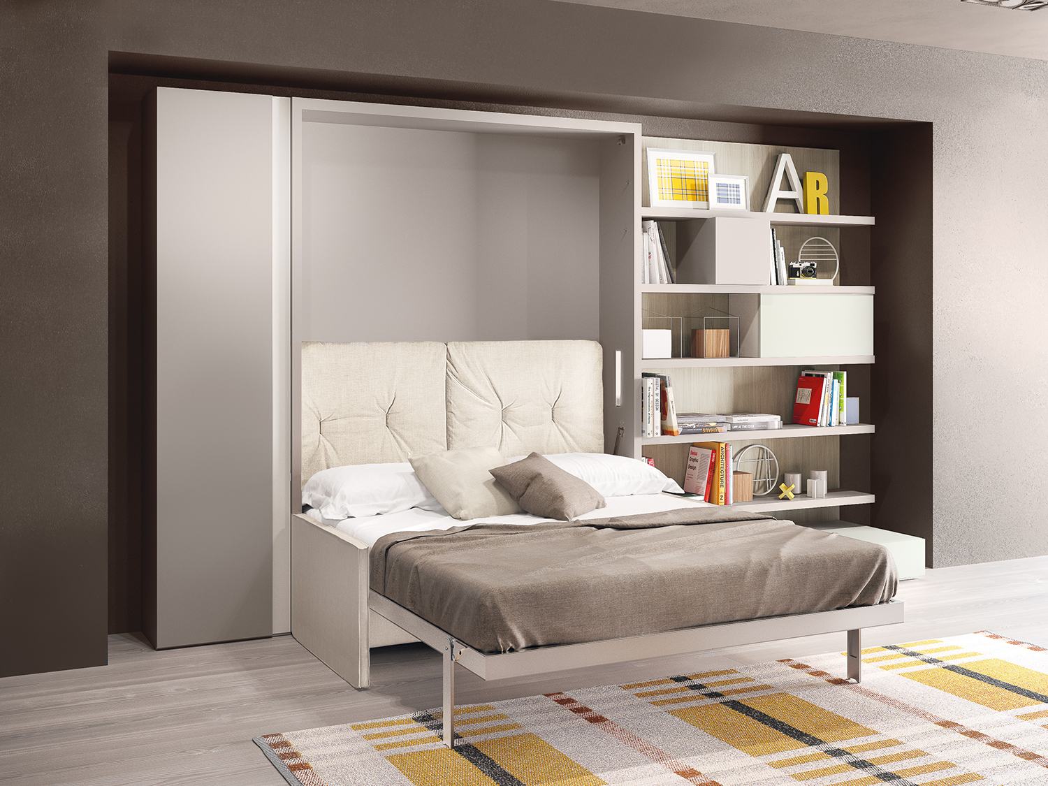 Penelope wall bed with sofa by clei anima domus for Clei wall bed