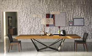Skorpio Wood Contemporary table by Cattelan Italia with new Tosca chairs