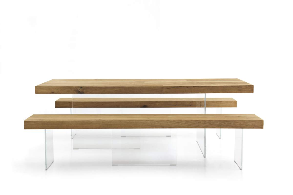 Modern Air Wildwood Dining Table by Lago on Glass Legs