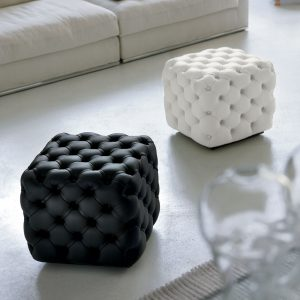 Contemporary Alcide Pouf by Porada with capitonne detail