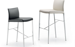 Anna black neutral leather barstools Cattelan