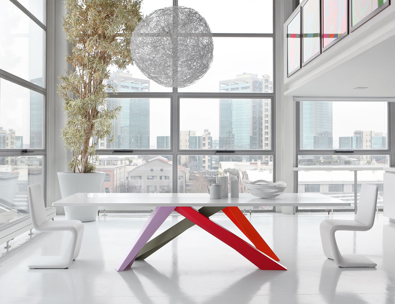 Bonaldo-Big-Dining-Table-White-Red-Gray
