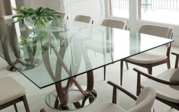 Contemporary Porada Infinity dining table with a double base by Stefano Bigi