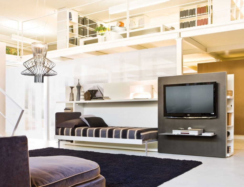 Poppi theatre wall bed tv unit by clei anima domus for Clei wall bed